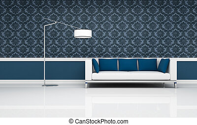 classic interior with modern white and blue sofa
