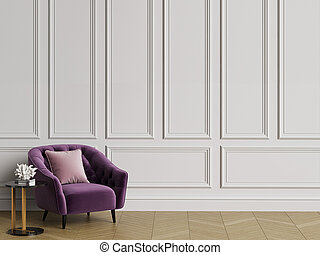 Classic interior with tufted armchair. White walls with mouldings, floor parquet hirringbone. Copy space. Digital illustration.3d rendering