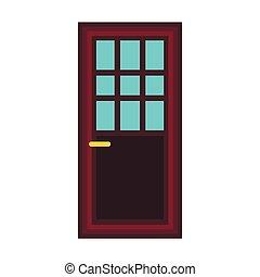 Classic interior wooden door icon, flat style