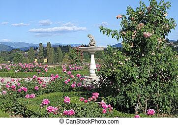 classic italian garden - Pink peonies and roses in italian...