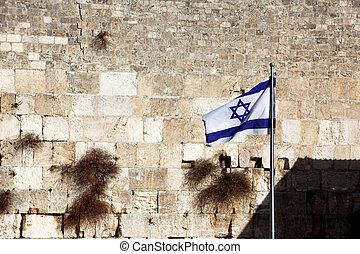 Classic Jerusalem - Flag of Israel background Wailing Wall (Kotel, Western Wall)