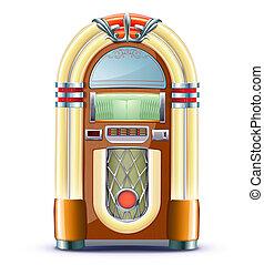 classic juke box - illustration of retro style detailed...