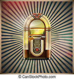 classic juke box - illustration of style detailed classic...