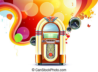 classic juke box - illustration in retro style of party...