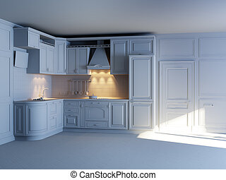 Classic kitchen cabinets in new interior (grey materials)