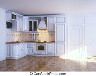 Classic kitchen cabinets in new whi