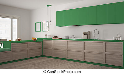 Classic kitchen with wooden details and parquet floor, minimalist white and green interior design