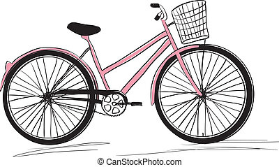 Classic ladies shopping bike. stylish illustration - Classic...
