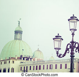 classic lamppost in Venice in vintage tone