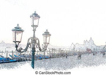 classic lamppost in Venice