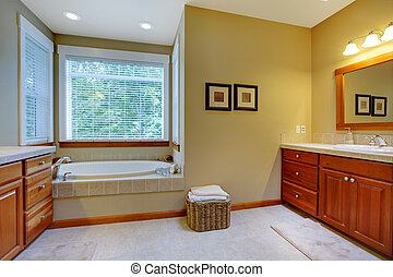 Classic large bathroom with double sinks