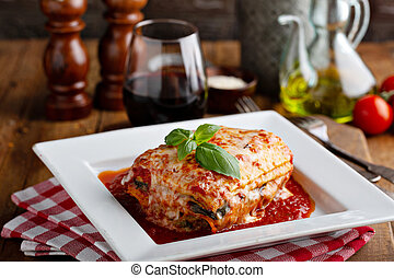 Classic lasagne piece on a plate