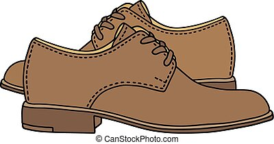 Classic leather shoes - Hand drawing of classic leather mens...
