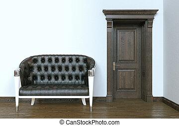 Classic leather sofa in modern interior with wooden door. 3d render