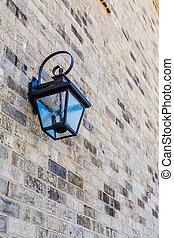 Classic Light Fixture on Brick Wall
