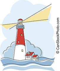 Classic Lighthouse - Vector illustration of a classic red ...