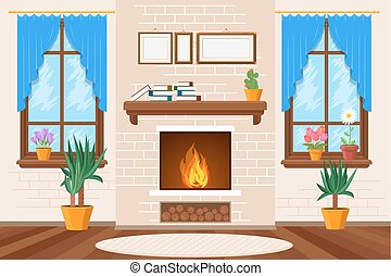 Classic living room interior with fireplace and bookshelves vector illustration