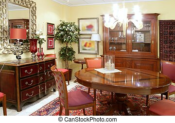 Classic living room table warm wood furniture glowing...
