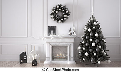 Classic living room with fireplace, Christmas tree and decors, winter, new year scandinavian white interior design