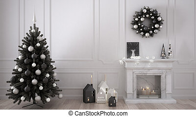 Classic living room with fireplace, Christmas tree and decors, winter, new year scandinavian white interior designv