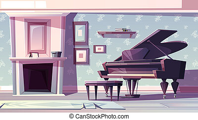 Classic living room with piano cartoon - Living room ...