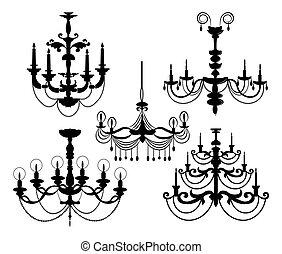 Classic Luxury black chandelier set