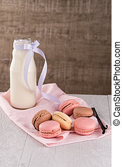 Classic Macarons with Raspberry, Coffee, Chocolate and Pistachios Filled with Cream, French Pastry