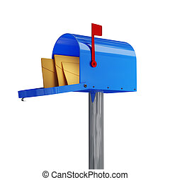 classic mailbox - 3d image of classic blue mail box with...