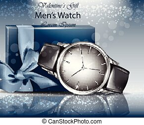 Classic Man watch and gift box realistic Vector. 3d detailed...