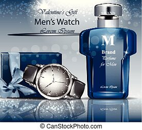 Classic Man watch and perfume Vector. 3d detailed mock up....