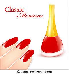 Classic Manicure - Red Nail polish in classic manicure...