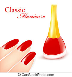 Classic Manicure - Red Nail polish in classic manicure ...