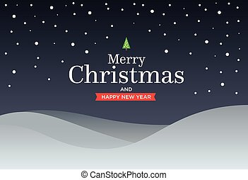 Classic Marry Christmas background with green three, snow,...