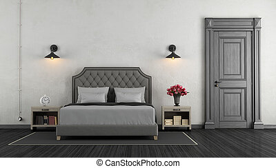 Classic master bedroom with double bed and closed door - 3d...