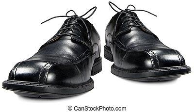 Classic men's black club shoe isolated macro closeup -...