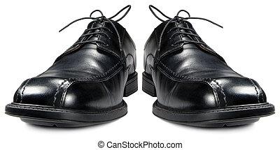 Classic men\'s black club shoe isolated macro closeup -...