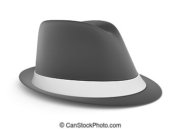 Classic mens fedora in gray, over a white background.