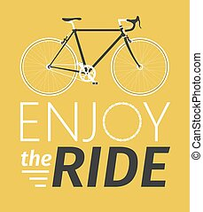 Classic mens town, road bike with enjoy the ride title, detailed vector illustration for card, t-shirt, etc.