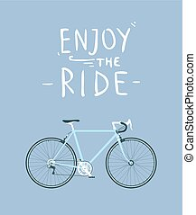 Classic mens town, road bike with enjoy the ride title, detailed vector illustration for card, t-shirt, etc