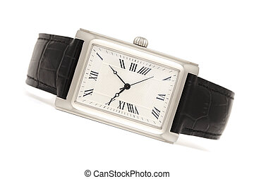 Classic elegance men's watches isolated on white background with shadows