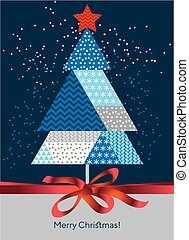 Classic Merry Christmas and happy new year, greeting cardtemplate. Xmas Vector illustrationin red, blue and white color