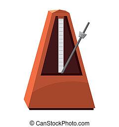 Classic metronome icon, cartoon style