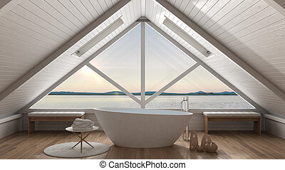 Classic mezzanine loft with big window and sea panorama,...
