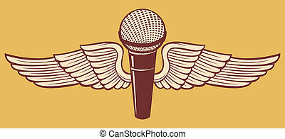 classic microphone and wings