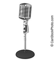 Classic microphone on black stand, isolated on white...