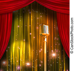 Classic Microphone with Colorful Curtains