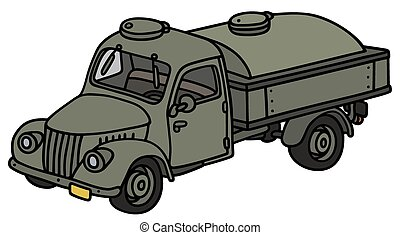 Classic military tank truck - Hand drawing of an old...