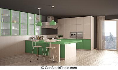 Classic minimal white and green kitchen with parquet floor, modern interior design