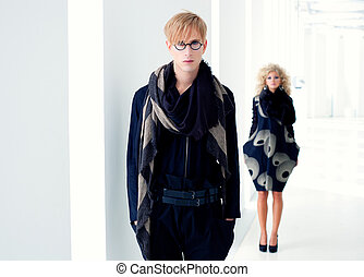 classic modern student man with fashion woman