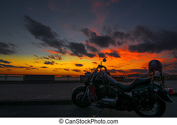 classic motorcycle at dusk